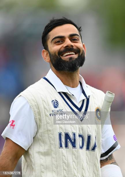 Virat Kohli of India walks off at lunch during Day 2 of the ICC World Test Championship Final between India and New Zealand at The Hampshire Bowl on...