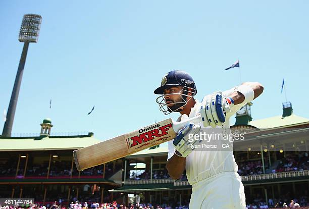 Virat Kohli of India walks out to bat during day three of the Fourth Test match between Australia and India at Sydney Cricket Ground on January 8,...