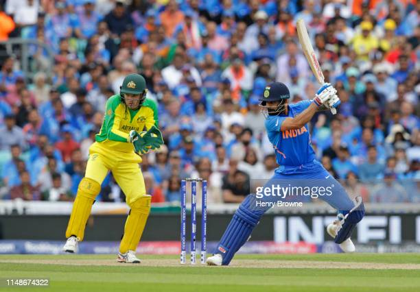 Virat Kohli of Indiaa plays a shot during the Group Stage match of the ICC Cricket World Cup 2019 between India and Australia at The Oval on June 9,...