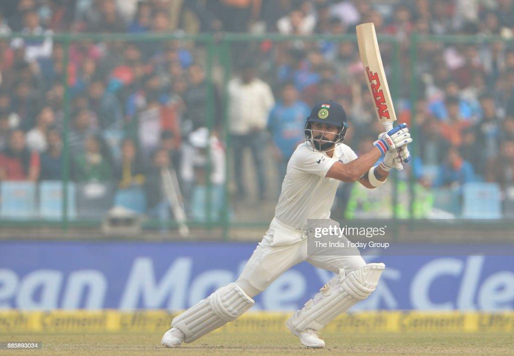 Virat Kohli plays a shot during the 3rd test match between India and Sri Lanka at Ferozshah Kotla Stadium in New Delhi.