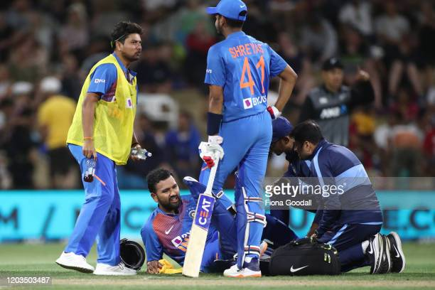 Virat Kohli suffers a leg injury and retires during game five of the Twenty20 series between New Zealand and India at Bay Oval on February 02, 2020...