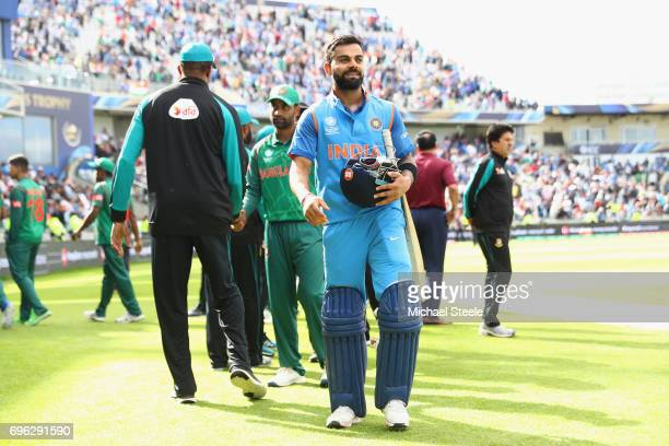 Virat Kohli the India captain after his 96 not out innings and seeing his side to a nine wicket victory during the ICC Champions Trophy SemiFinal...