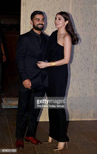 Virat Kohli with Anushka Sharma during the birthday celebrations of fashion designer Manish Malhotra in Mumbai
