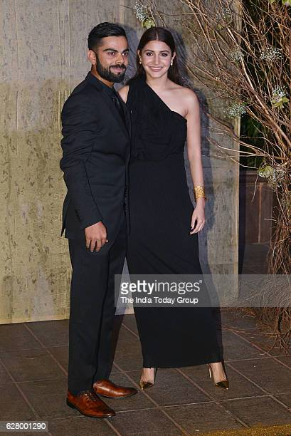 Virat Kohli with Anushka Sharma during the birthday celebrations of fashion designer Manish Malhotra in Mumbai