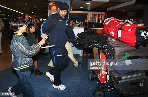 Virender Schwag of India walks through the arrivals hall as the Indian cricket team arrive at Auckland International Airport on February 20 2009 in...