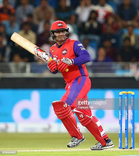 Virender Sehwag of Gemini Arabians bats during the Final match of the Oxigen Masters Champions League between Gemini Arabians and Leo Lions at the...