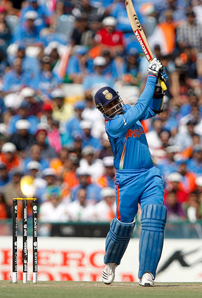 Virender Sehwag of India bats during the 2011 ICC World Cup second SemiFinal between Pakistan and India at Punjab Cricket Association Stadium on...