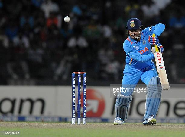 Virender Sehwag of India bats during the ICC World Twenty20 2012 Super Eights Group 2 match between South Africa and India at R Premadasa Stadium on...