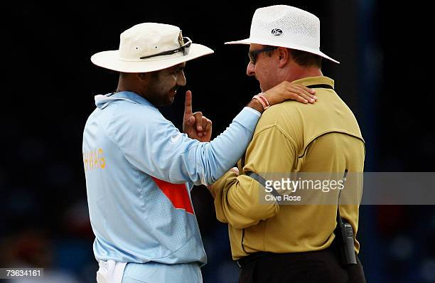 Virender Sehwag of India has a word with umpire Ian Howell during the ICC Cricket World Cup 2007 Group B match between Bermuda and India at the...