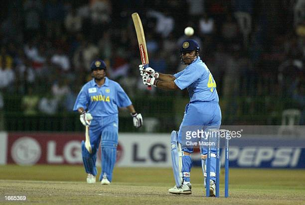 Virender Sehwag of India in action during the rescheduled ICC Champions Trophy final between Sri Lanka and India at the R Premadasa Stadium in...