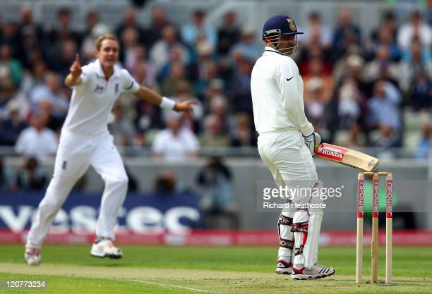 Virender Sehwag of India looks back as he is caught behind off the bowling of Stuart Broad during day one of the 3rd npower Test at Edgbaston on...