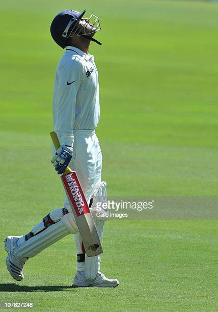Virender Sehwag of India loses his wicket to Dale Steyn of South Africa caught by Hashim Amla for a duck during day 1 of the 1st Test match between...
