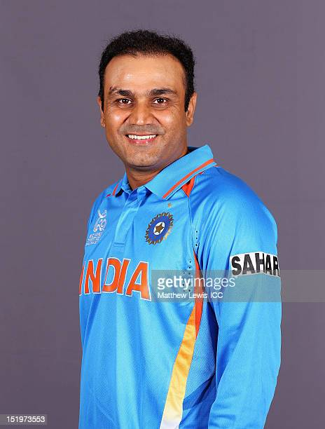 Virender Sehwag of India pictured during a India Portrait session ahead of the ICC T20 world Cup at the Taj Samudra Hotel on September 14 2012 in...