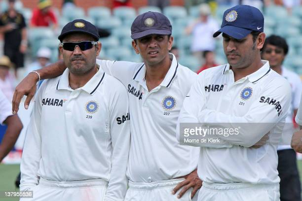 Virender Sehwag Rahul Dravid and MS Dhoni wait for the presentations after day five of the Fourth Test Match between Australia and India at Adelaide...