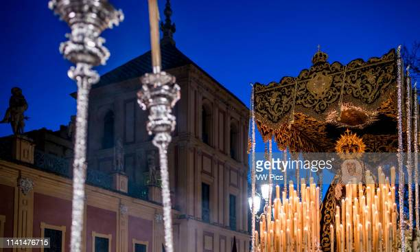 Virgen de los Dolores in front of San Telmo Palace Holy Tuesday Seville Spain