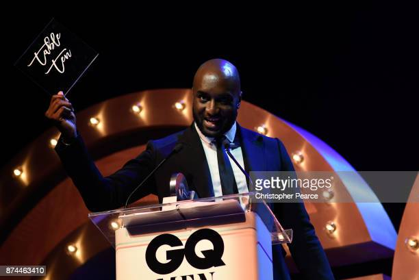 Virgil Abloh accepts the award for International Designer of the Year during the GQ Men Of The Year Awards Ceremony at The Star on November 15 2017...