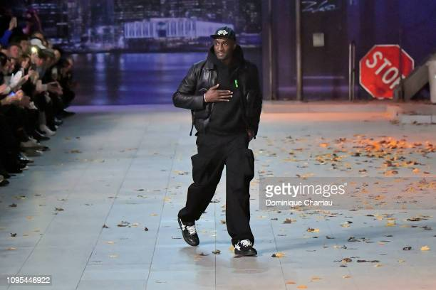 Virgil Abloh acknowledges the crowd during the Louis Vuitton Menswear Fall/Winter 2019-2020 show as part of Paris Fashion Week on January 17, 2019 in...