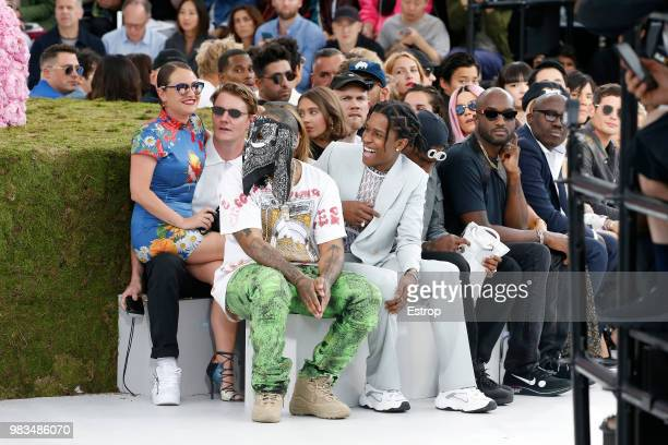 Virgil Abloh and ASAP Rocky during the Dior Homme Menswear Spring/Summer 2019 show as part of Paris Fashion Week on June 23 2018 in Paris France
