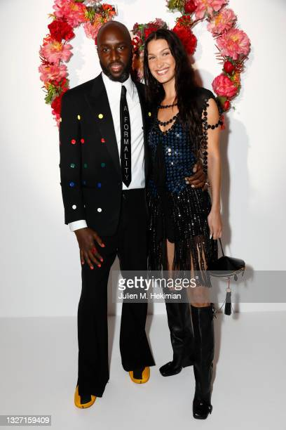 Virgil Abloh and Bella Hadid attend the Louis Vuitton Parfum Dinner at Fondation Louis Vuitton on July 05, 2021 in Paris, France.