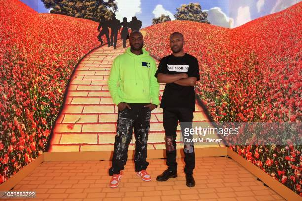 Virgil Abloh and Frank Ocean attend the Louis Vuitton and Virgil Abloh London Pop-Up on October 19, 2018 in London, United Kingdom.