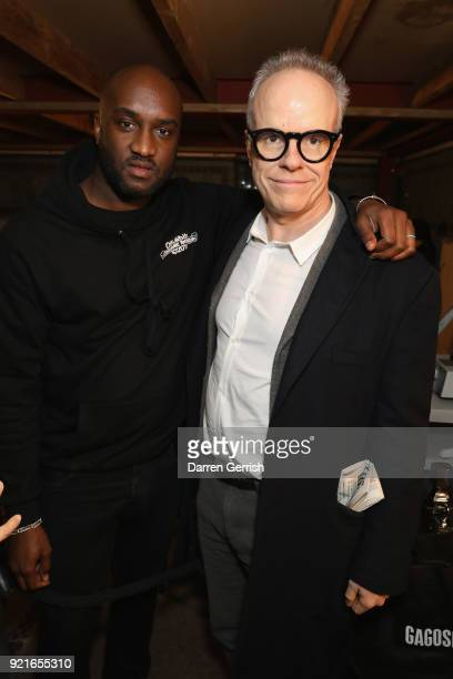 Virgil Abloh and HansUlrich Obrist attend Murakami Abloh Future History at Gagosian Gallery Davies Street on February 20 2018 in London England