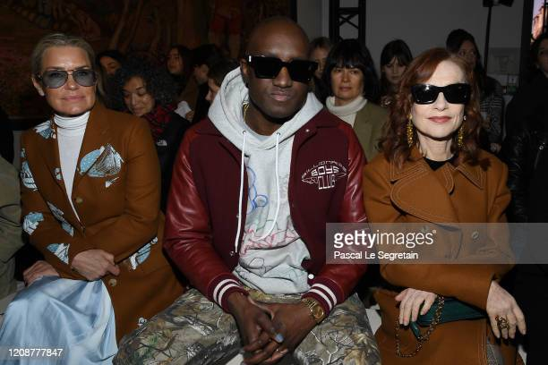 Virgil Abloh and Isabelle Huppert attend the Lanvin show as part of the Paris Fashion Week Womenswear Fall/Winter 2020/2021 on February 26, 2020 in...
