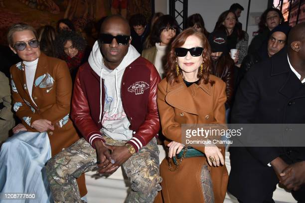 Virgil Abloh and Isabelle Huppert attend the Lanvin show as part of the Paris Fashion Week Womenswear Fall/Winter 2020/2021 on February 26 2020 in...