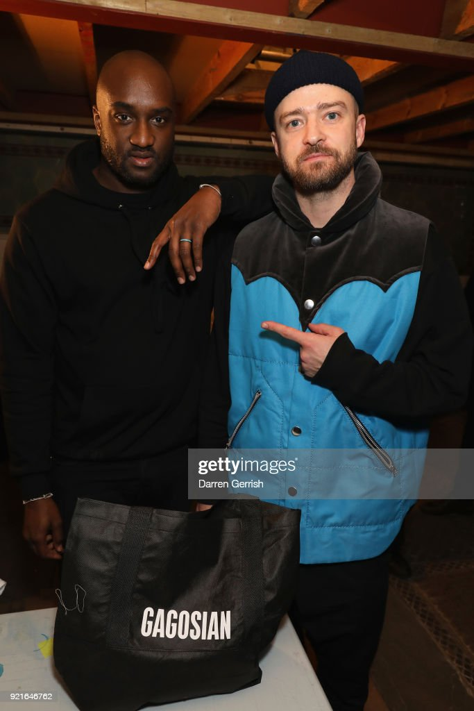 Virgil Abloh (L) and Justin Timberlake attend Murakami & Abloh: Future History at Gagosian Gallery Davies Street on February 20, 2018 in London, England.