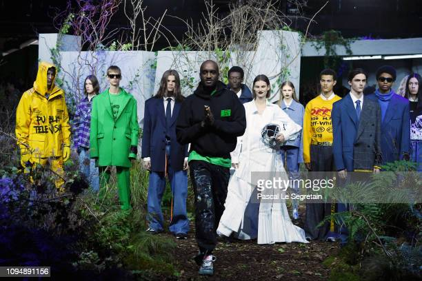 Virgil Abloh and models walk the runway during Off-White Menswear Fall/Winter 2019-2020 show as part of Paris Fashion Week on January 16, 2019 in...
