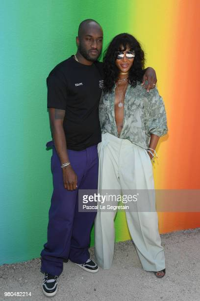 Virgil Abloh and Naomi Campbell after the Louis Vuitton Menswear Spring/Summer 2019 show as part of Paris Fashion Week on June 21 2018 in Paris France