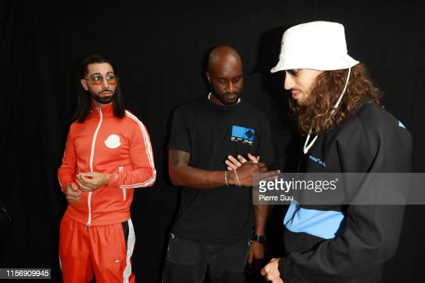 Virgil Abloh and PNL band members Ademo and NOS are seen backstage at the OffWhite Menswear Spring Summer 2020 show as part of Paris Fashion Week on...