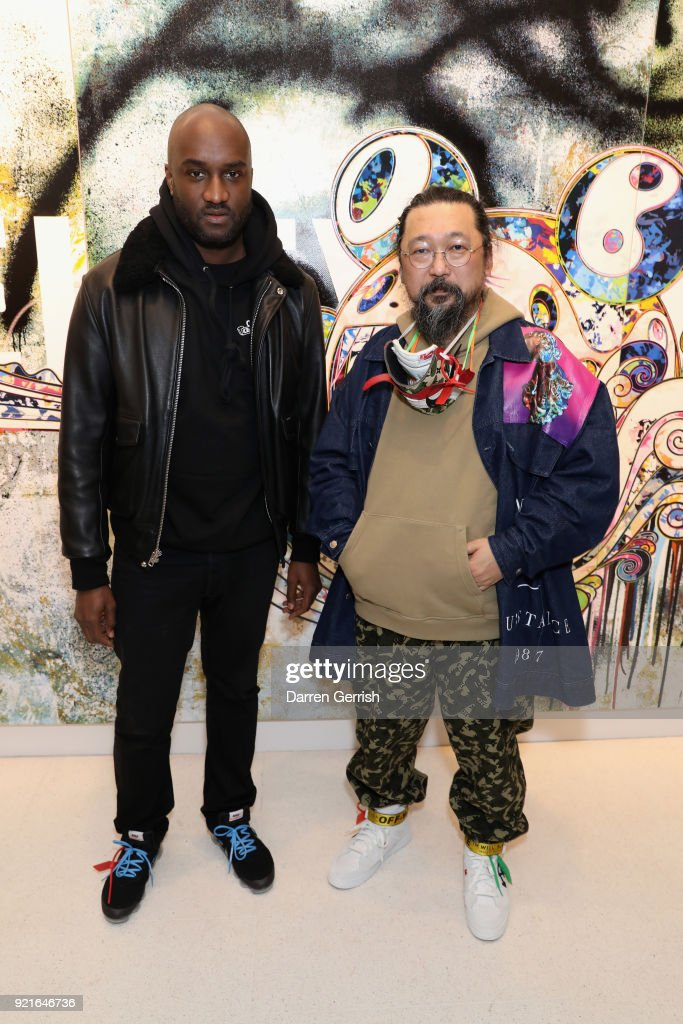 Virgil Abloh (L) and Takashi Murakami (R) attend Murakami & Abloh: Future History at Gagosian Gallery Davies Street on February 20, 2018 in London, England.