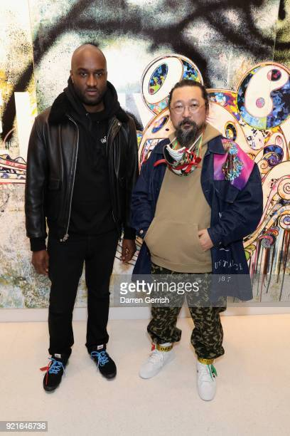 Virgil Abloh and Takashi Murakami attend Murakami Abloh Future History at Gagosian Gallery Davies Street on February 20 2018 in London England