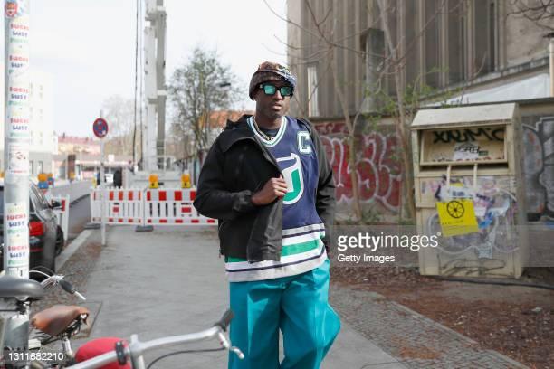 Virgil Abloh arrives at Bottega Veneta Salon 02 Berlin at the Berghain on April 09, 2021 in Berlin, Germany.