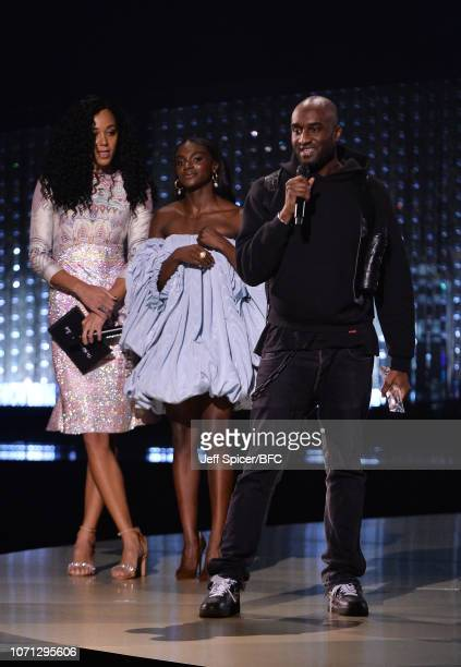 Virgil Abloh for OFF WHITE winner of the Urban Luxe award speaks on stage after being presented with the award by Dina AsherSmith and Katarina...