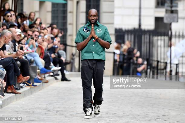Virgil Abloh greets the crowd during the Louis Vuitton Menswear Spring Summer 2020 show as part of Paris Fashion Week on June 20, 2019 in Paris,...