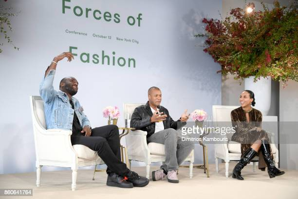 Virgil Abloh Heron Preston and Chioma Nnadi speak onstage during Vogue's Forces of Fashion Conference at Milk Studios on October 12 2017 in New York...