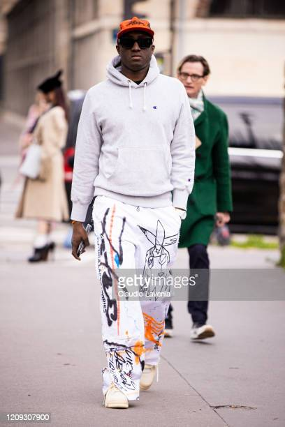 Virgil Abloh is seen outside Loewe fashion show on February 28, 2020 in Paris, France.
