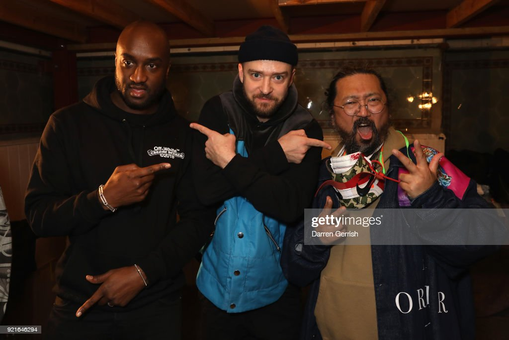 Virgil Abloh, Justin Timberlake and Takashi Murakami attend Murakami & Abloh: Future History at Gagosian Gallery Davies Street on February 20, 2018 in London, England.