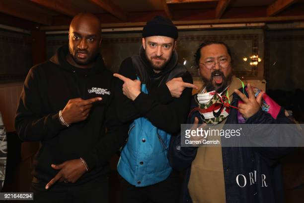 Virgil Abloh Justin Timberlake and Takashi Murakami attend Murakami Abloh Future History at Gagosian Gallery Davies Street on February 20 2018 in...