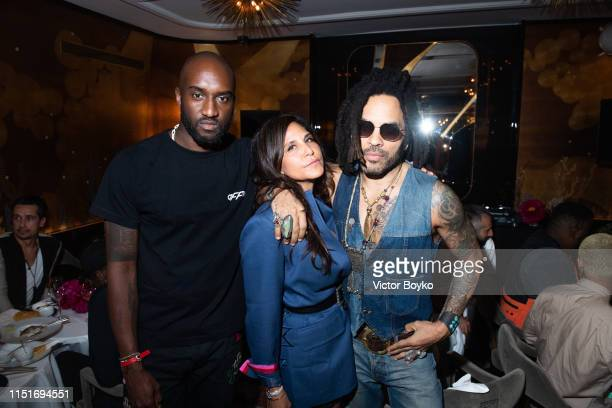Virgil Abloh Laurie Stark and Lenny Kravitz attend the cocktail party hosted by Chrome Hearts X Jordan Barrett at La Maison Du Caviar on June 22 2019...