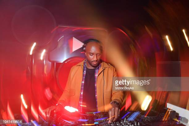 Virgil Abloh performs on stage at the YouTube cocktail party during Paris Fashion Week on September 26, 2018 in Paris, France.