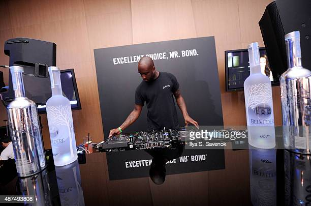 Virgil Abloh spins at Belvedere Vodka Celebrates Partnership with SPECTRE at One World Observatory on September 9 2015 in New York City