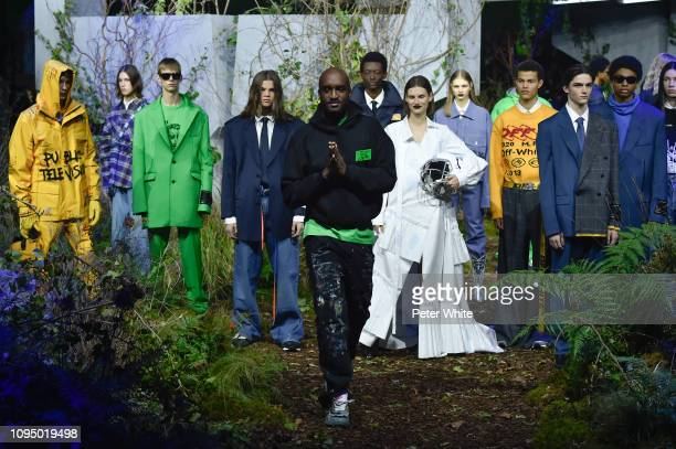 Virgil Abloh walks the runway during the finale of Off-White Menswear Fall/Winter 2019-2020 show as part of Paris Fashion Week on January 16, 2019 in...