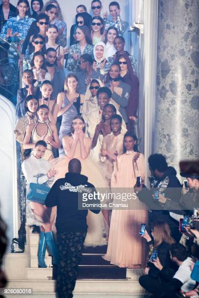 Virgil Abloh walks the runway during the OffWhite show as part of the Paris Fashion Week Womenswear Fall/Winter 2018/2019 on March 1 2018 in Paris...