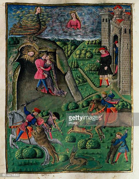 Virgil Ancient Roman poet The Aeneid Miniature 15th century VI book Dido falls in love with Aeneas History Library of the University of Valencia Spain