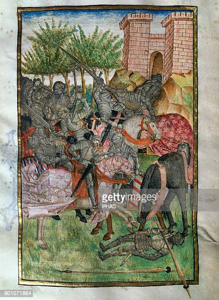 Virgil Ancient Roman poet The Aeneid Miniature 15th century X book Lausus and Mezentius are Killed by Aeneas History Library of the University of...
