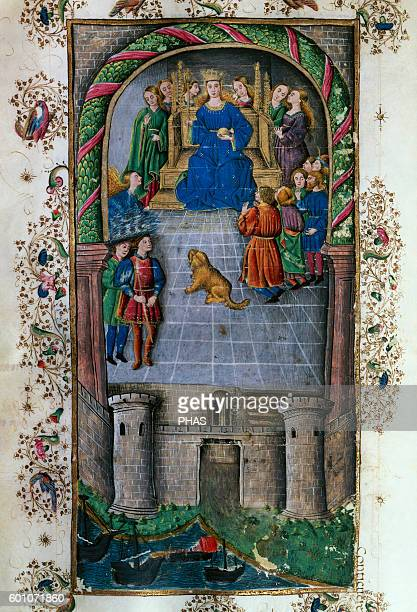 Virgil Ancient Roman poet The Aeneid Miniature Folio 80r 15th century 1st Book Aeneas in Carthage with queen Dido History Library of the University...