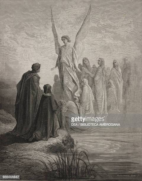 Virgil and Dante in front of the angel's boat which is carrying souls to Purgatory, engraving by Gustave Dore , Canto II, Purgatory, Divine Comedy by...