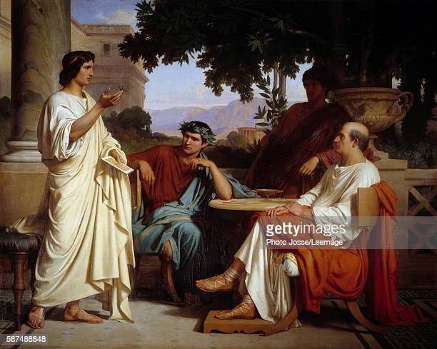 Virgil Horace and Varius in Mecene's home Painting by Charles Francois Jalabert 1846 BeauxArts museum Nimes France